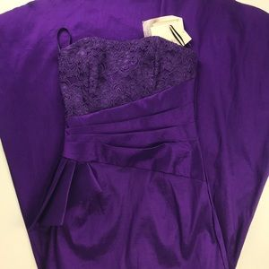 NWT Purple Fluted Trumpet Formal Ball Gown